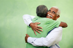 Elderly hugging